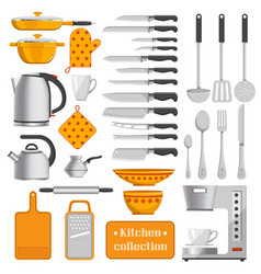 kitchen collection of tableware and appliances vector image