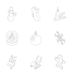 New year holiday icons set outline style vector image vector image