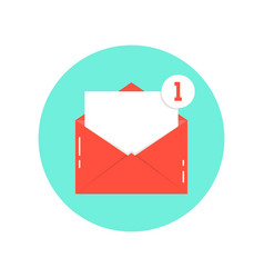 red letter notification on green circle vector image