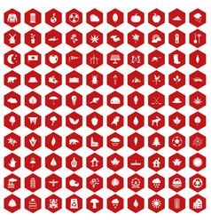 100 leaf icons hexagon red vector