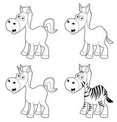 Cartoon horse outline vector image vector image