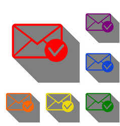 mail sign with allow mark set of red vector image