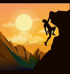 mountain climbing man on vector image vector image