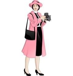 Retro character attractive asian woman vector image vector image