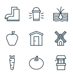 set of 9 plant icons includes hang lamp vector image
