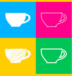 cup sign four styles of icon on four color vector image