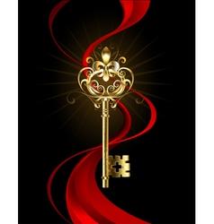 Golden Key with a Fleur de Lis vector image vector image