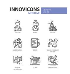 medicine - line design icons set vector image