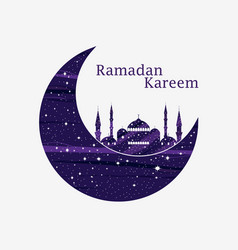 ramadan kareem mosque and a crescent stars and vector image