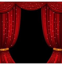 Red open curtain with glittering lights vector image