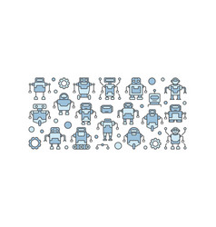 blue robots concept on white vector image