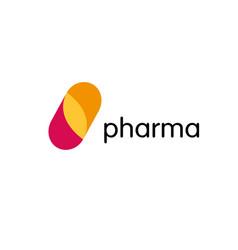 pharmacy logo medicine capsule tablet design vector image