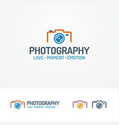 photography logo set with photocamera vector image