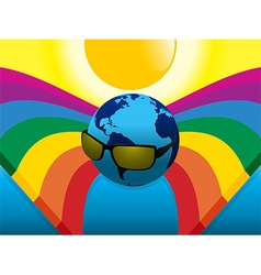 Planet Earth with sunglasses on crossing rainbows vector image vector image