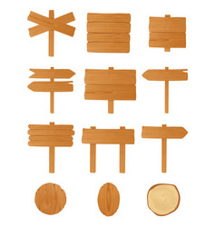 set of different wooden signboards planks vector image vector image