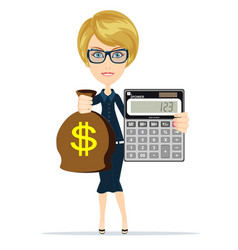 woman holding a money bag and electronic vector image