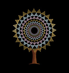 Abstract boho style gold tree mandala vector
