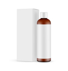 Amber cosmetic bottle mockup with label and box vector