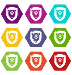 antique shield icons set 9 vector image