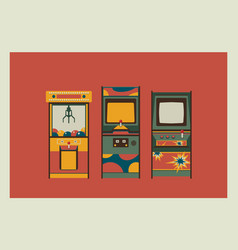 Arcade game machines and claw machine retro vector