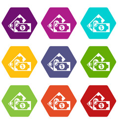 bank note icons set 9 vector image