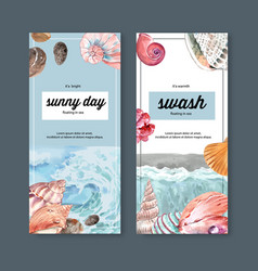 Banner design with wave and shellfish concept vector