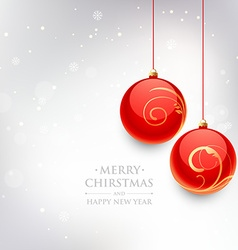 Beautiful christmas ball in snow background vector