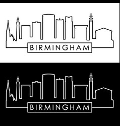 Birmingham skyline linear style editable file vector
