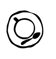 Black silhouette hand drawn of coffee cup top view vector