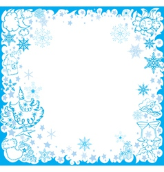 blue winter frame with christmas elements vector image