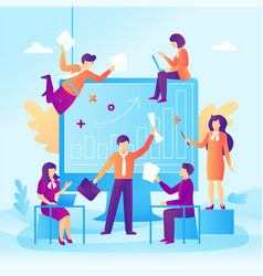 Business people and a presentation in a flat vector