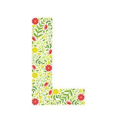 Capital letter l green floral alphabet element vector