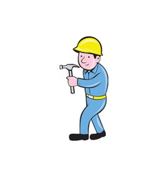 Carpenter Builder Hammer Walking Cartoon vector