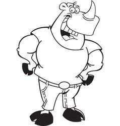 Cartoon rhino wearing jeans vector image