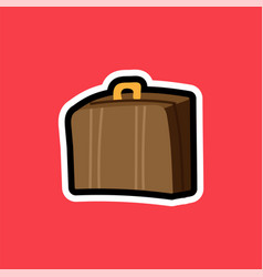 cartoon sticker with suitcase for travelling vector image