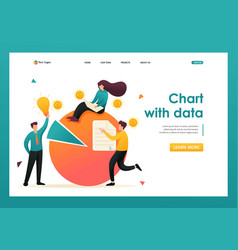 Chart with data financial statements flat 2d vector