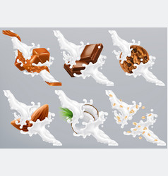 Chocolate caramel coconut almond biscuit oats in vector