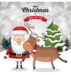 christmas card santa and deer cute tree snow and vector image