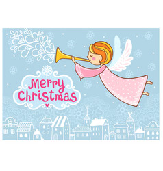 christmas greeting card with a flying angel vector image