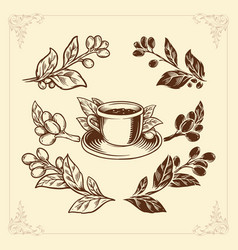 coffee set hand drawing vintage style premium vector image
