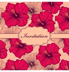 colorful hand drawn floral invitation card vector image