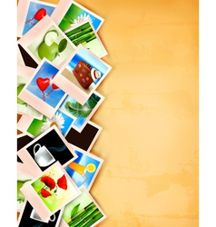 Colorful photos on old paper background vector