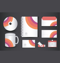 colorful stationery corporate identity template vector image