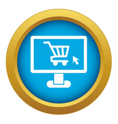 Computer monitor with shopping cart icon blue vector