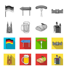 country germany monochromeflat icons in set vector image