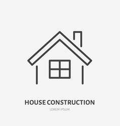 country house flat line icon real estate sign vector image