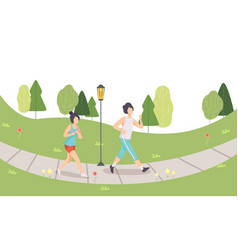 couple running in park man and woman doing vector image