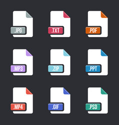 Creative of file type icon set vector