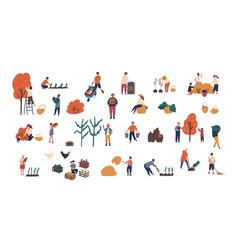 Crowd of tiny people gathering crops or seasonal vector