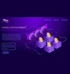cryptocurrency mining equipment blockchain vector image